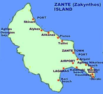 Greece zakynthos or zante island in the ionian hotels apartments guide map of zakynthos gumiabroncs Choice Image