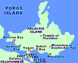 Poros Greece Map.Poros Saronic Gulf Greece